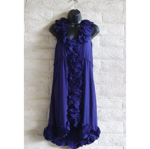 Anthropologie Dresses & Skirts - Yoana Baraschi | silk ruffle blue dress wedding